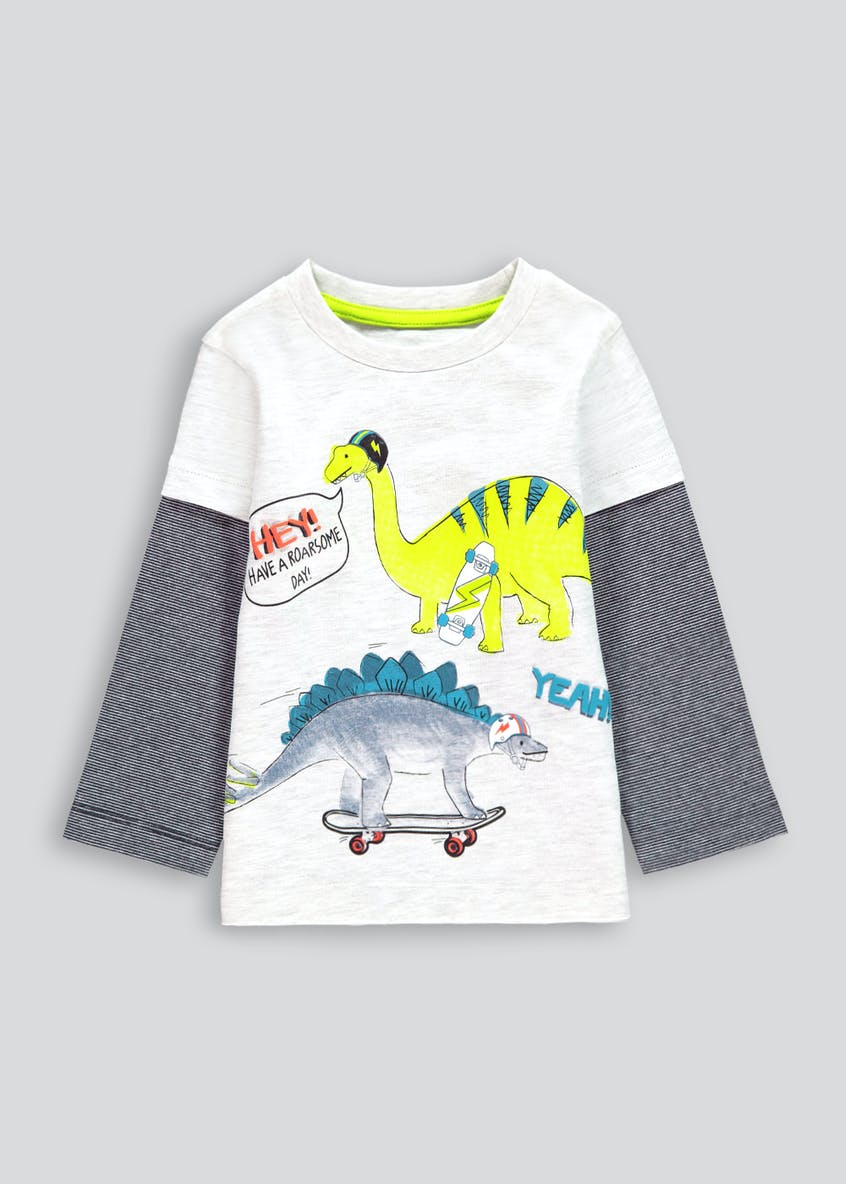 Boys Dinosaur Mock Sleeve T-Shirt