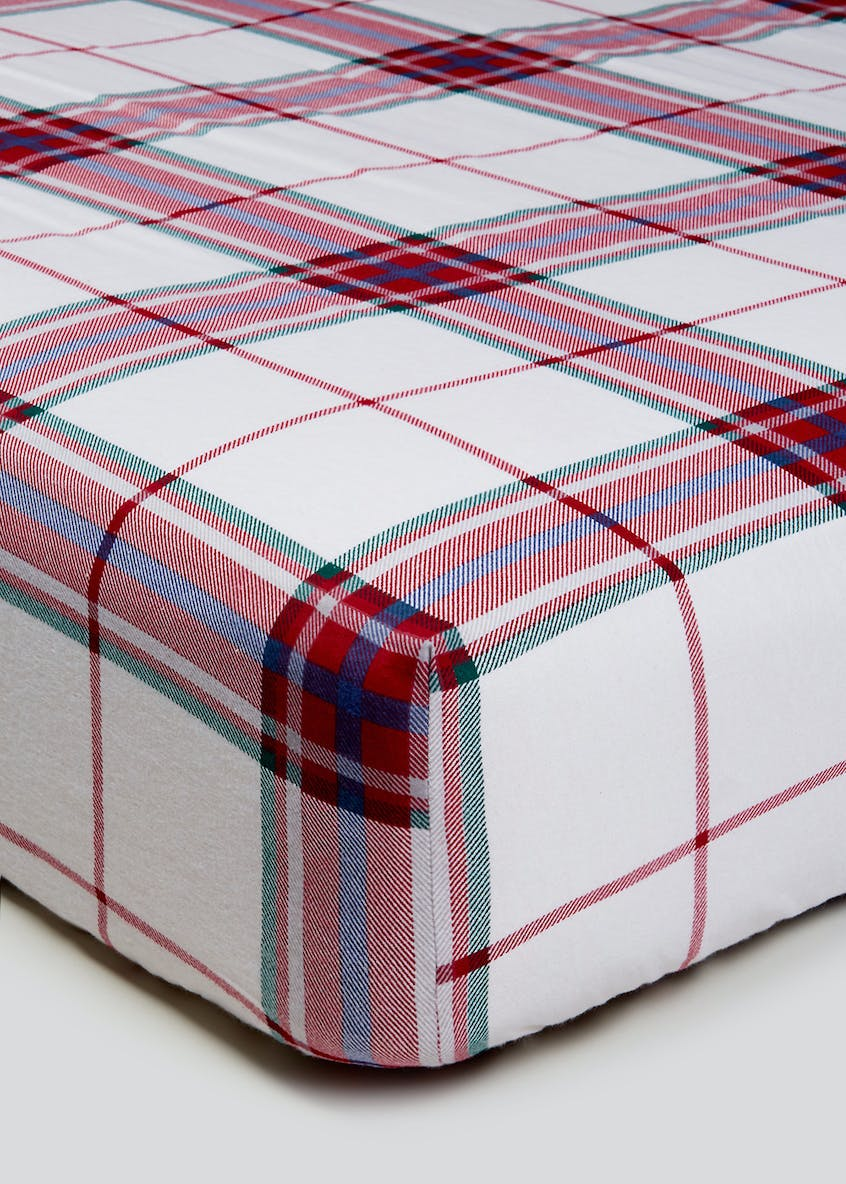 100% Brushed Cotton Check Fitted Sheet