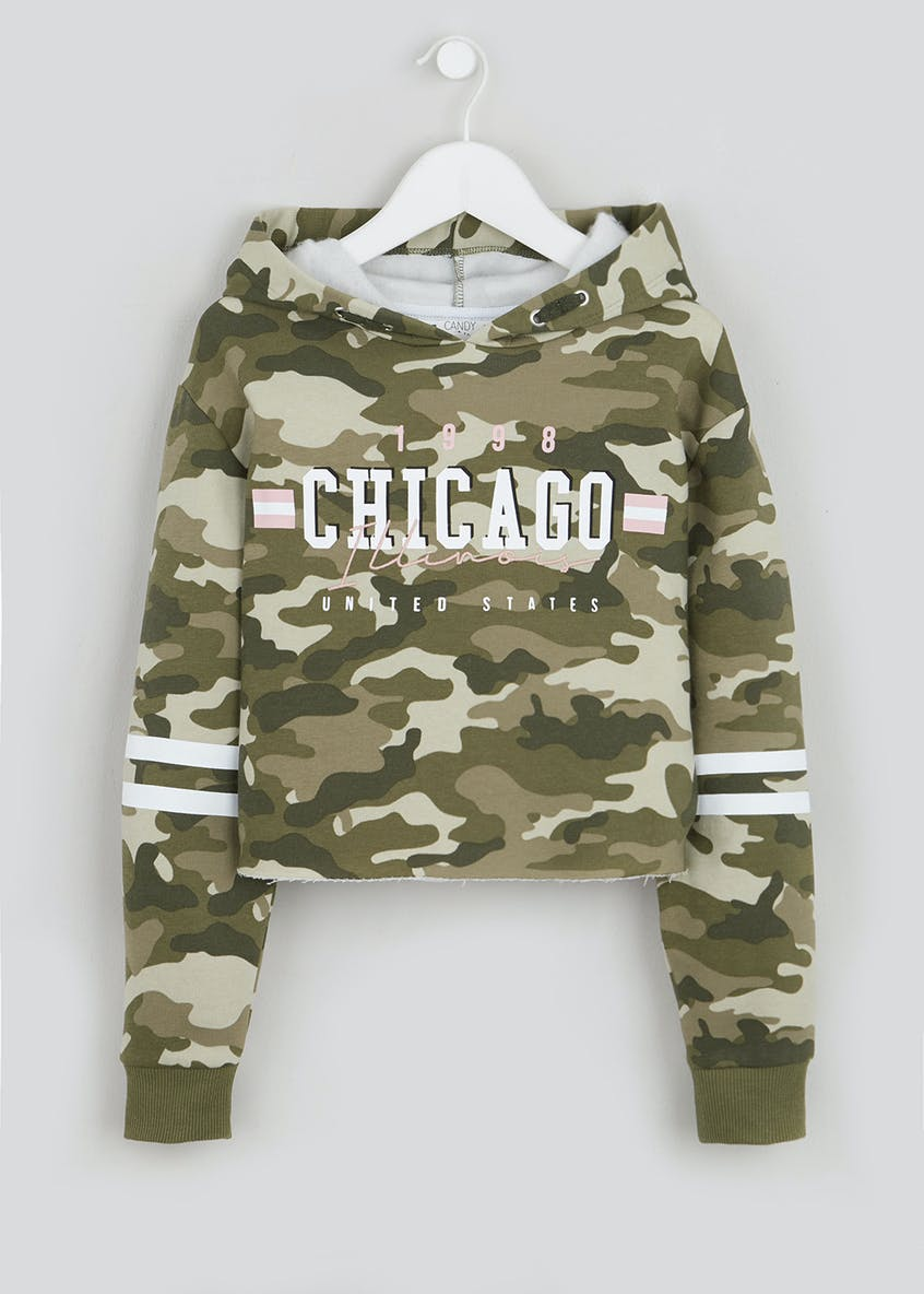 Girls Candy Couture Camo Cropped Hoodie (9-16yrs)