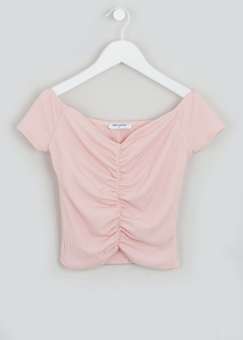 Girls Candy Couture X Ruched Bardot Top (9-16yrs)