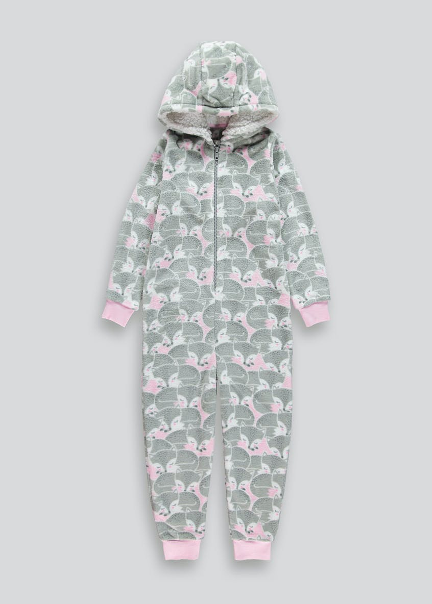 Girls Fox Fleece Onesie (6-13yrs)