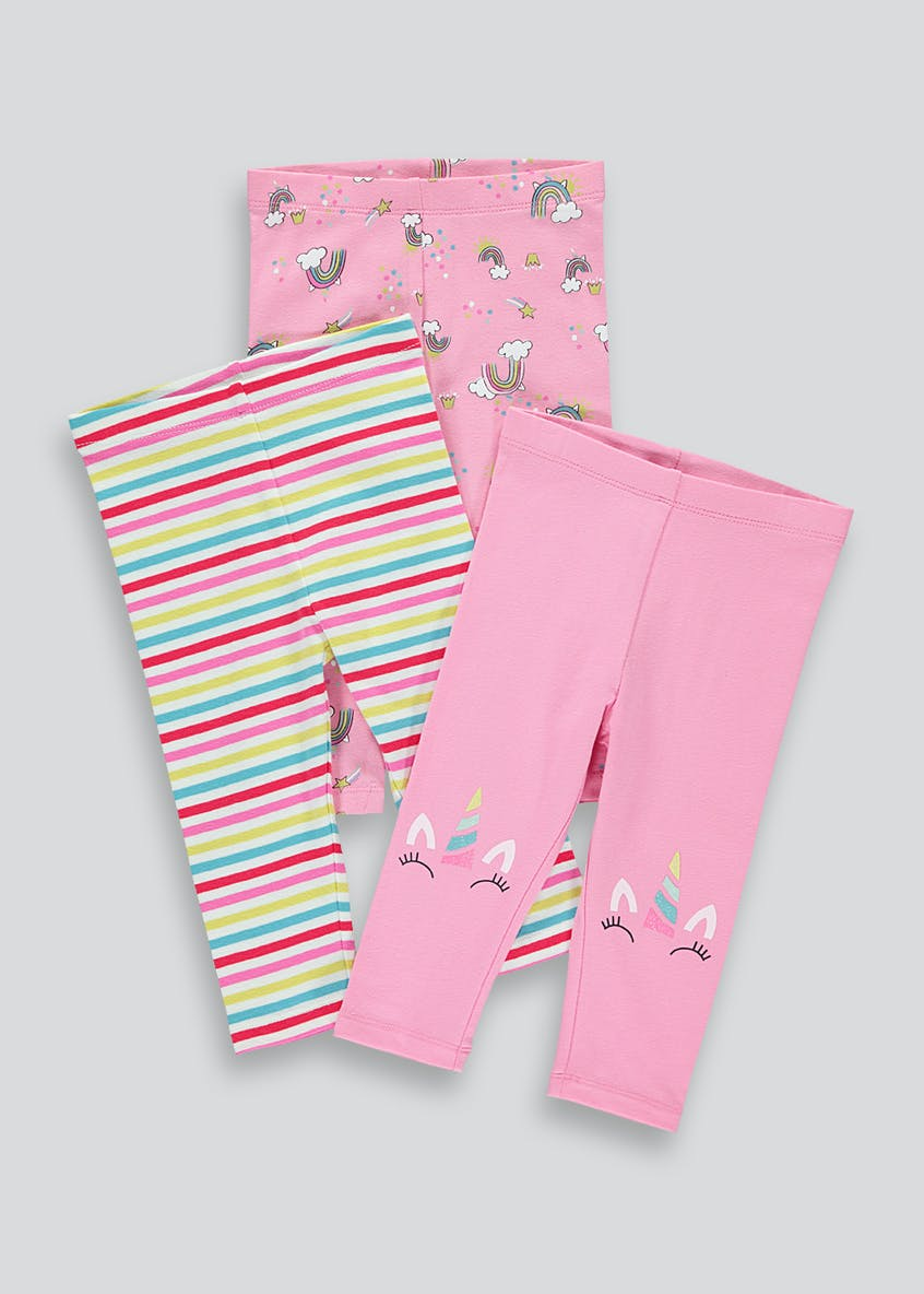 Girls 3 Pack Unicorn Leggings (9mths-6yrs)