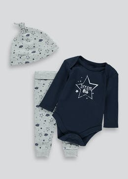 Unisex Dream Bodysuit Leggings & Hat Set (Tiny Baby-9mths)