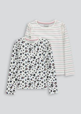Girls 2 Pack Long Sleeve T Shirts (4-13yrs)