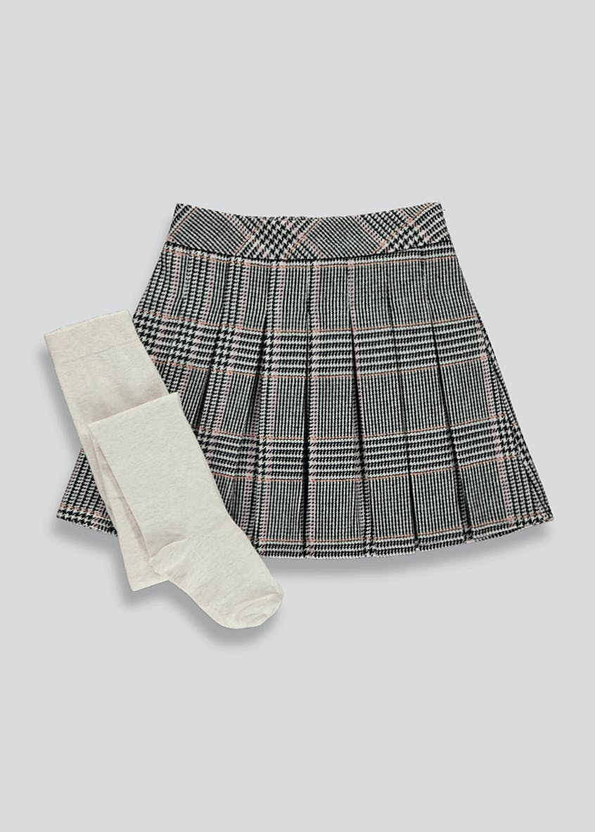 Girls Check Skirt & Tights Set (4-13yrs)