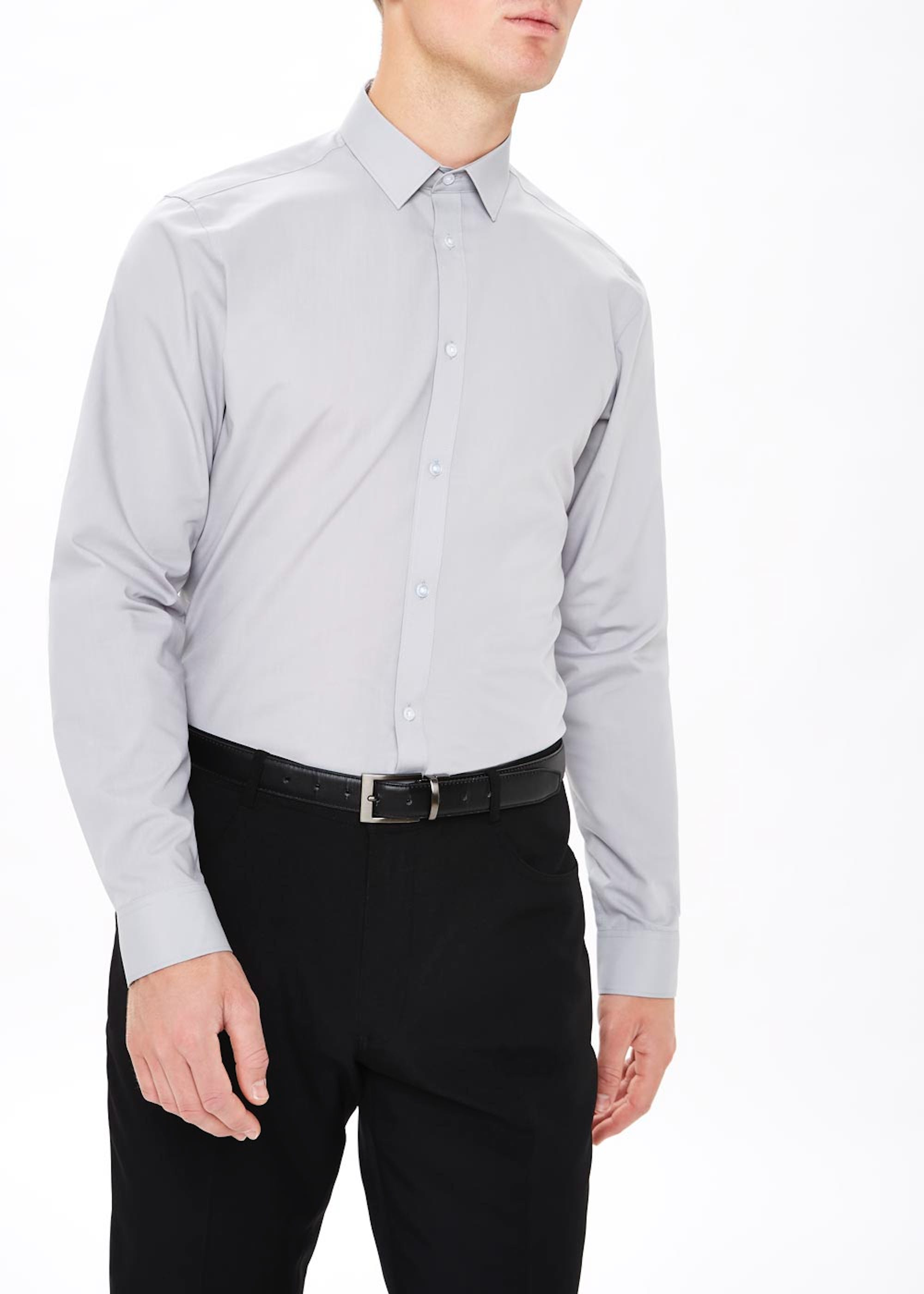 Taylor & Wright Easy Care Slim Fit Long Sleeve Shirt Grey 1MsgPa