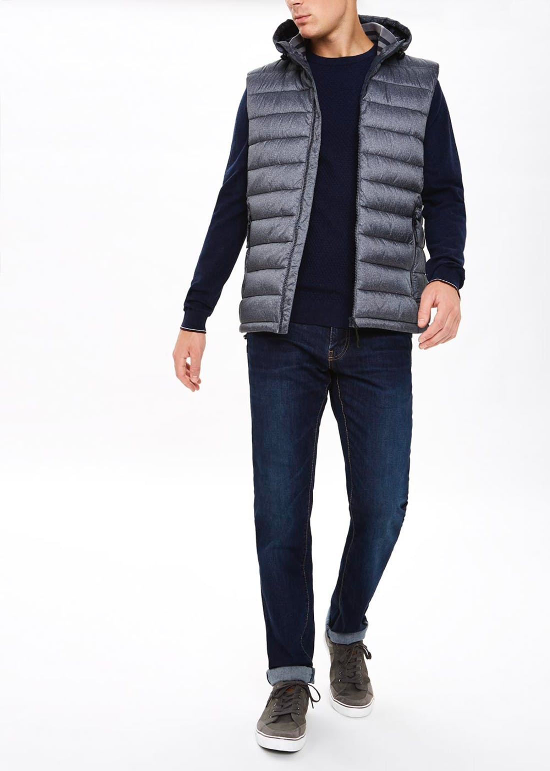 Big & Tall Grey Hooded Gilet