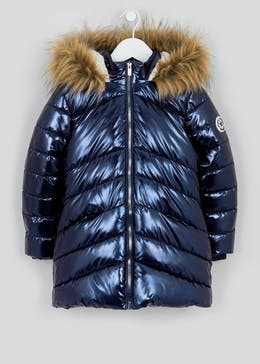 Girls Metallic Navy Padded Parka Coat (4-13yrs)