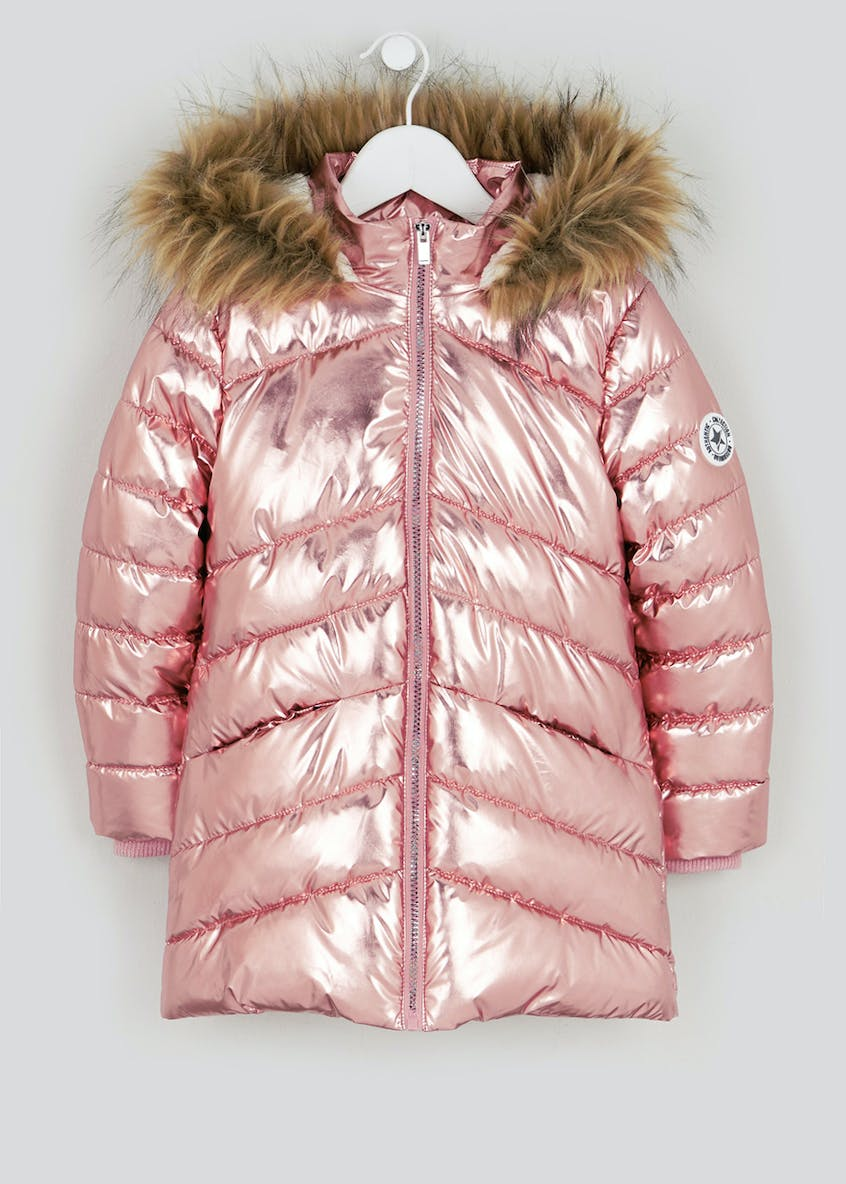 Girls Metallic Pink Padded Parka Coat (4-13yrs)