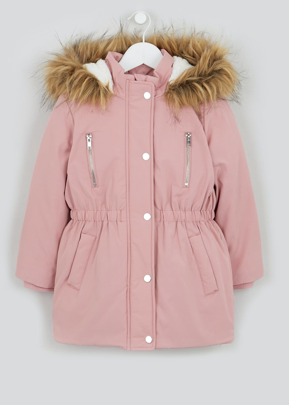 Girls Pink Padded Hooded Parka (4-13yrs)