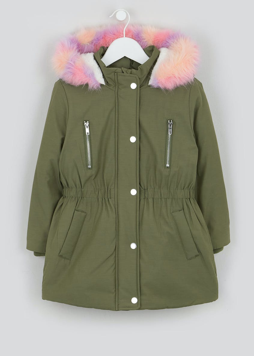 Girls Khaki Faux Fur Hood Parka (4-13yrs)