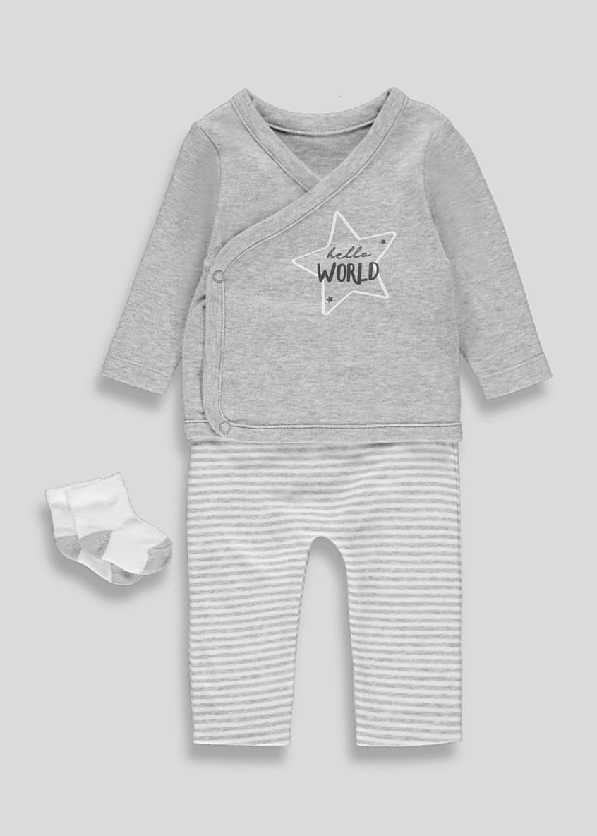 Unisex Hello World 3 Piece Set (Tiny Baby-9mths)