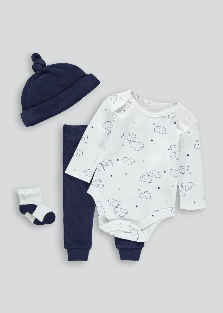 Unisex Cloud Bodysuit Leggings Hat & Socks Set (Tiny Baby-9mths)
