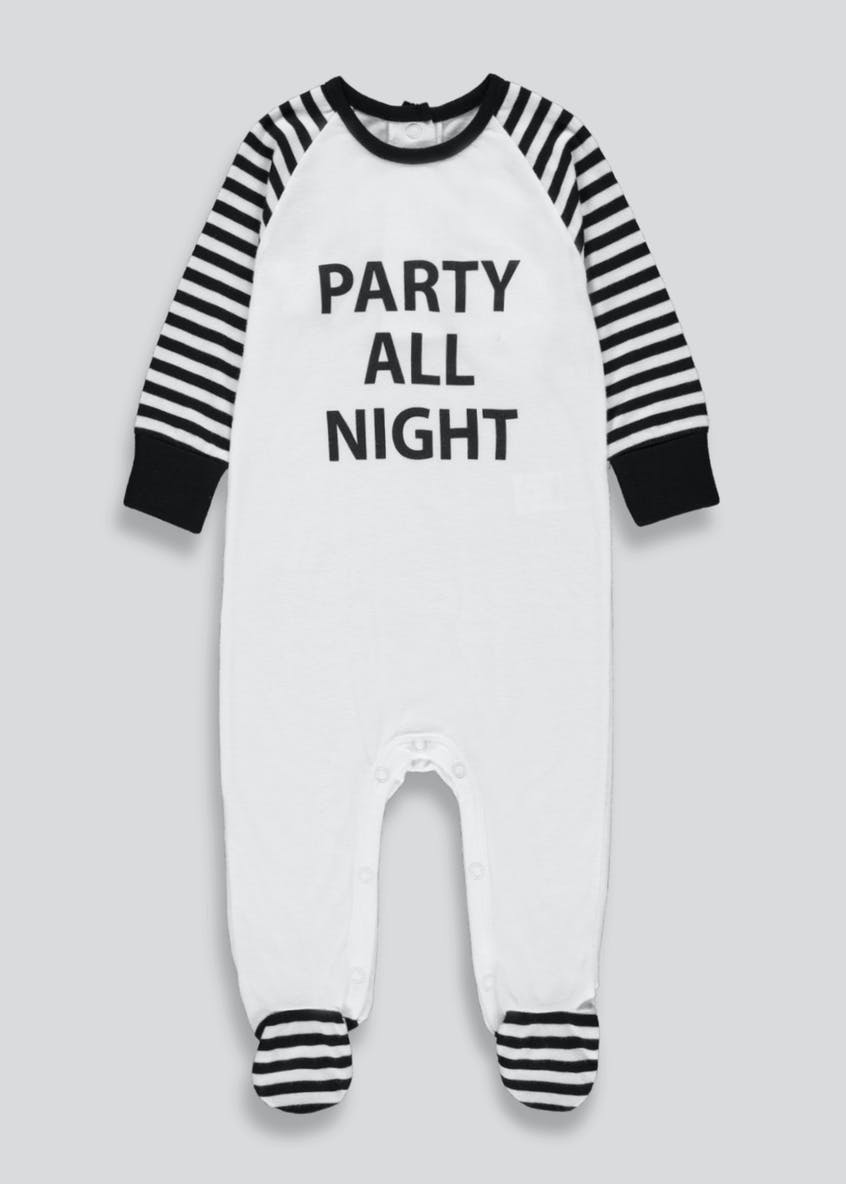 Unisex Party All Night Slogan Baby Grow (Tiny Baby-18mths)