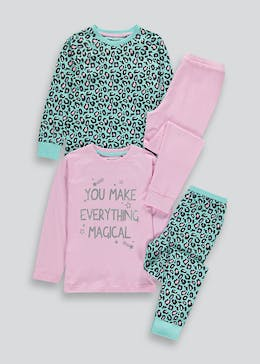 Girls 2 Pack Animal Print Pyjamas (4-13yrs)