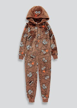 Kids Poop Emoji Fleece Onesie (6-13yrs)