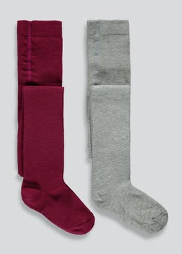 Girls 2 Pack Cotton Tights (2-11yrs)