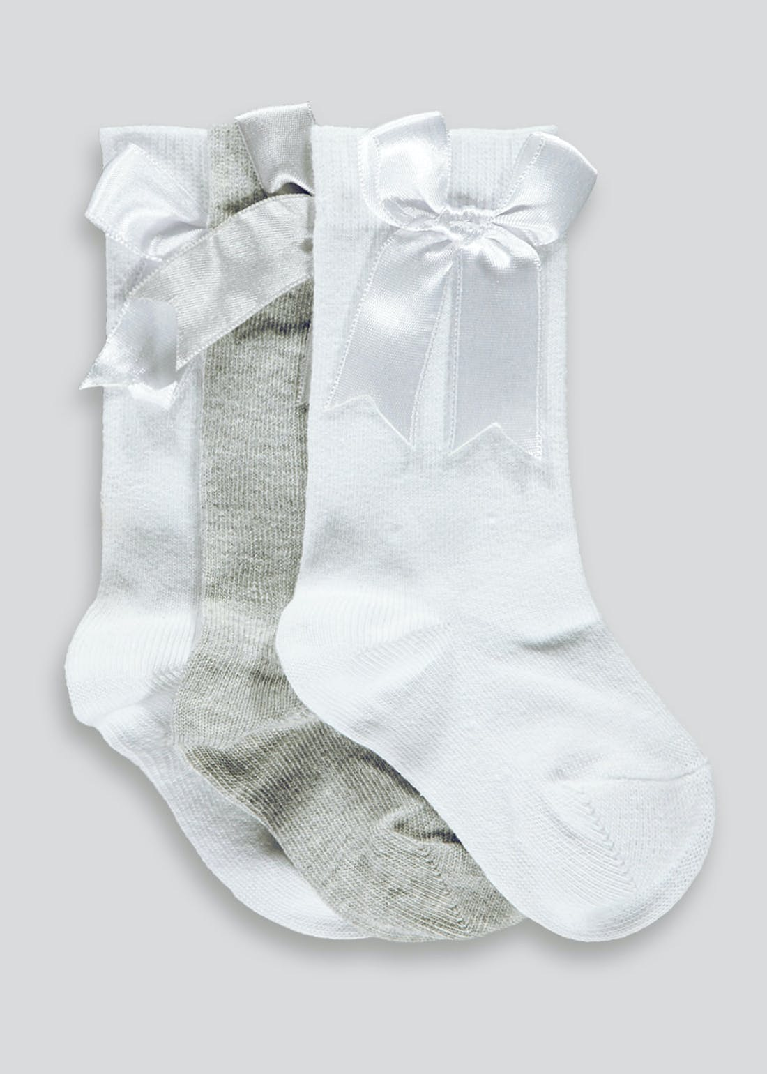 Girls 3 Pack Bow Socks (Newborn-8.5)
