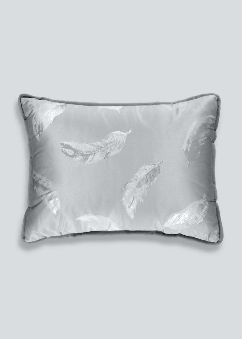 Feather Embroidered Sateen Cushion (40cm x 30cm)
