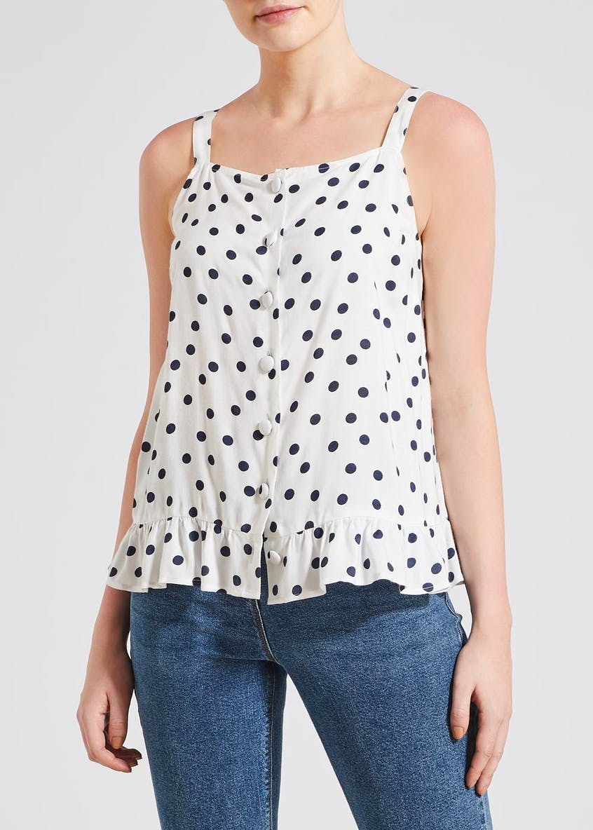 White Polka Dot Frill Hem Cami Top