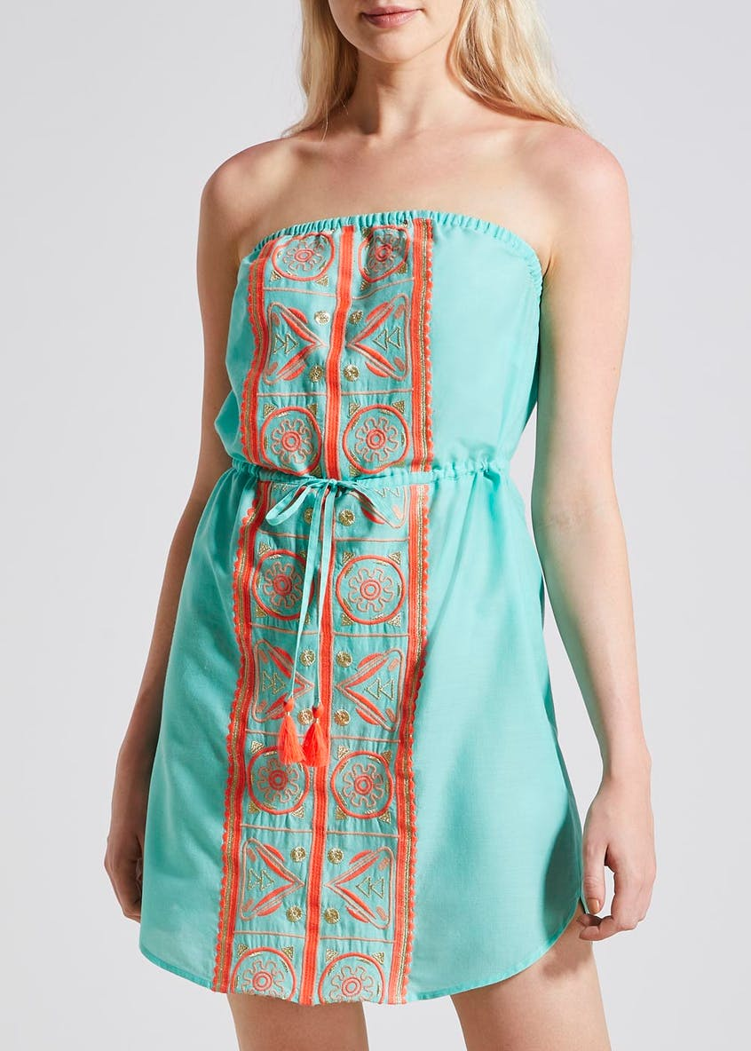 Embroidered Bandeau Beach Dress
