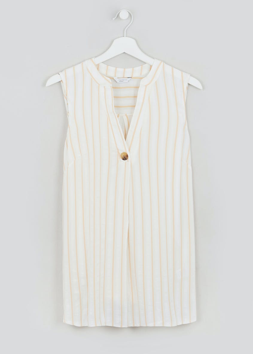 Stripe Sleeveless Grandad Collar Blouse
