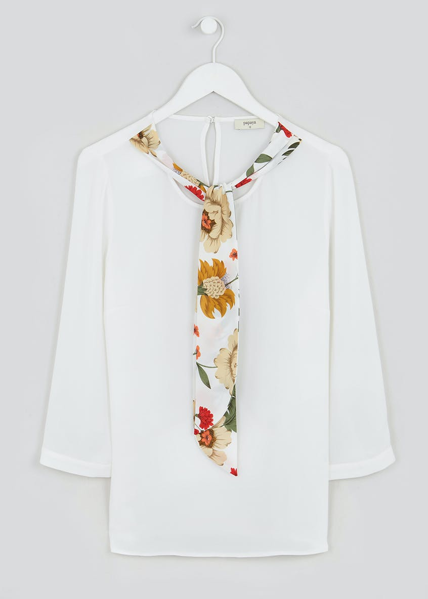 White Long Sleeve Scarf Blouse