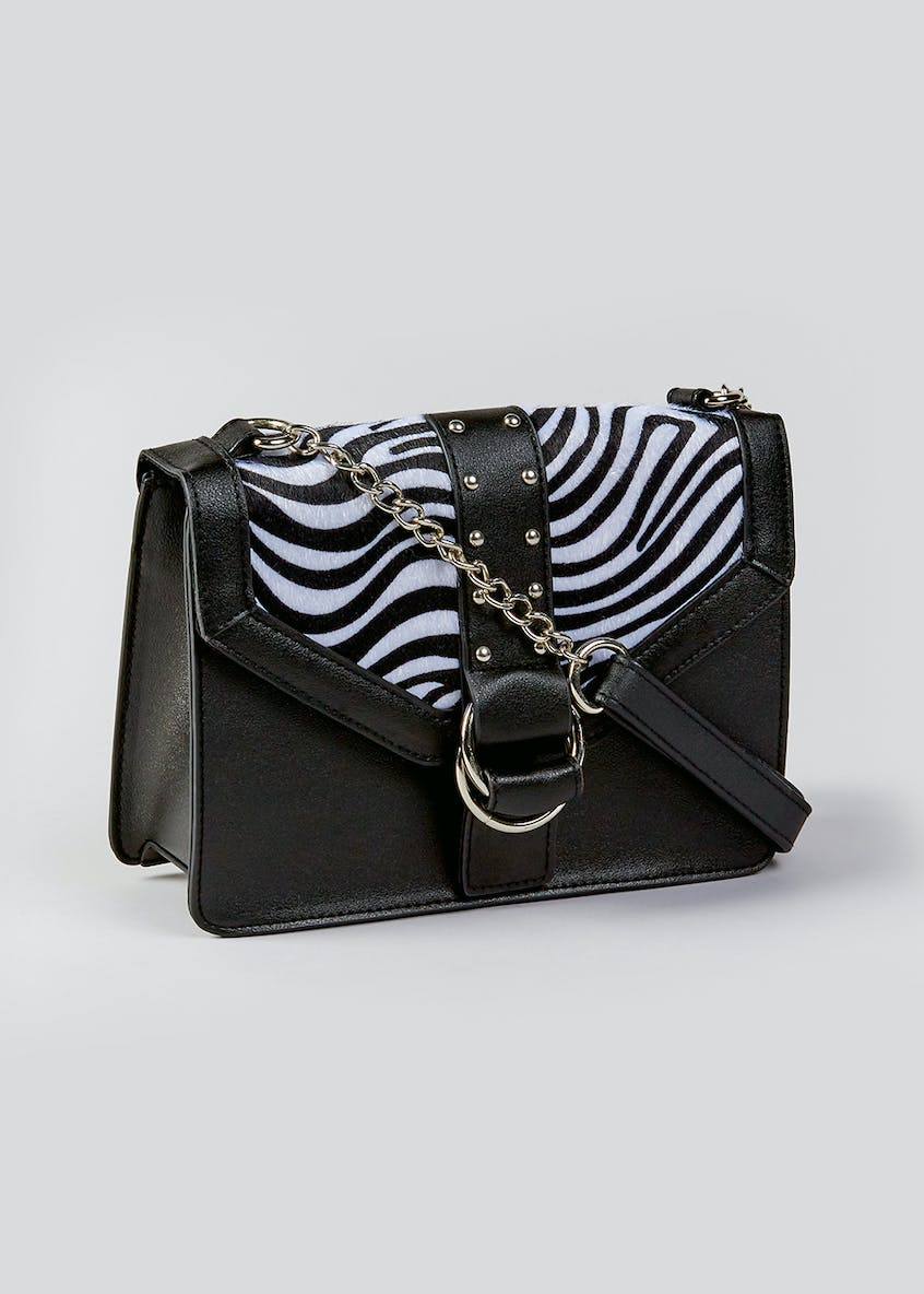 Faux Zebra Print Cross-Body Bag
