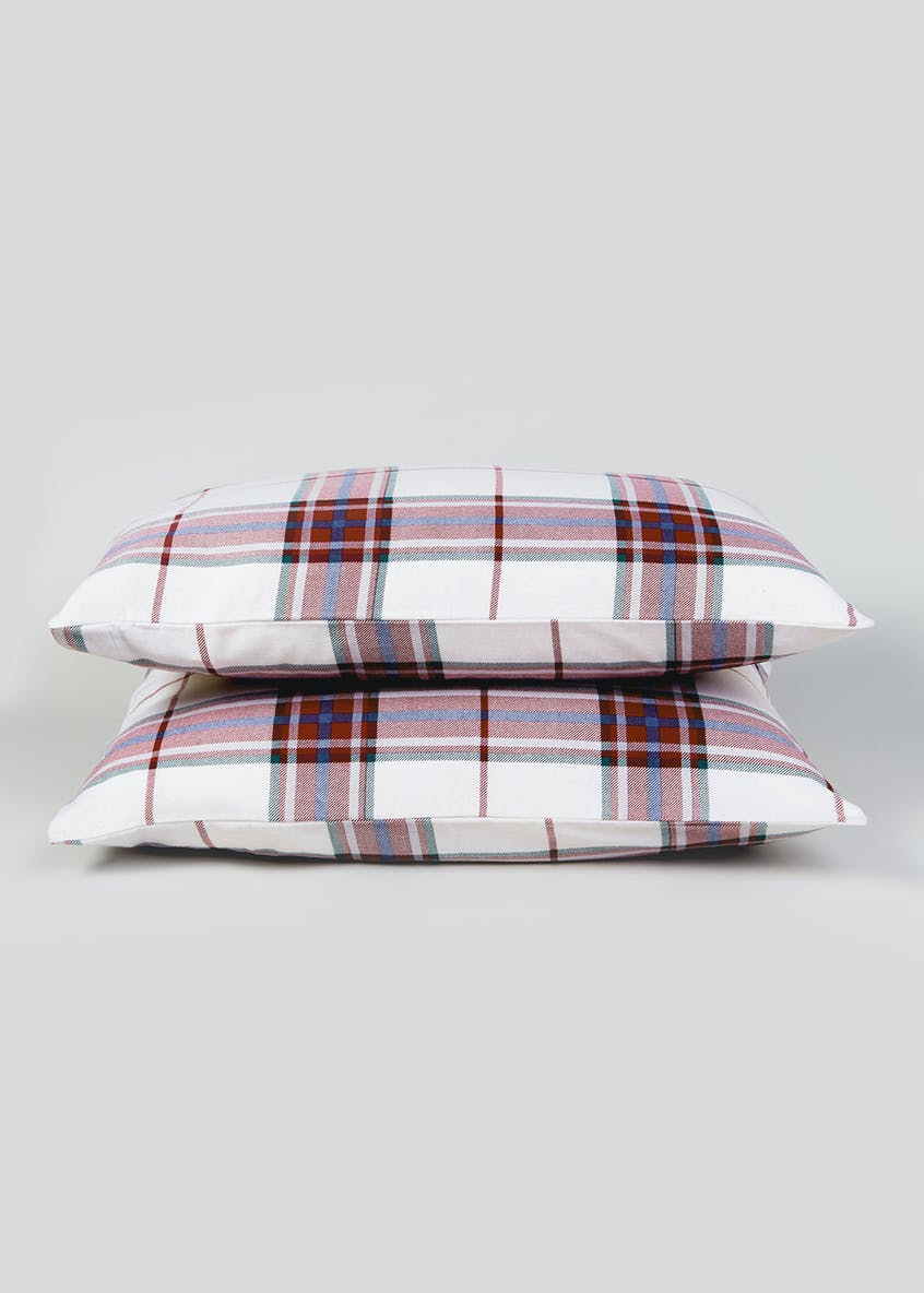 100% Brushed Cotton Check Pillowcases