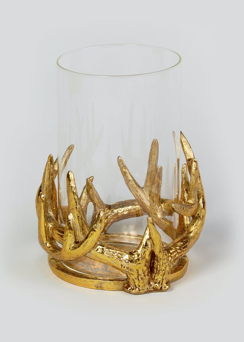 Antler Hurricane Candle Holder (20.5cm x 14cm)