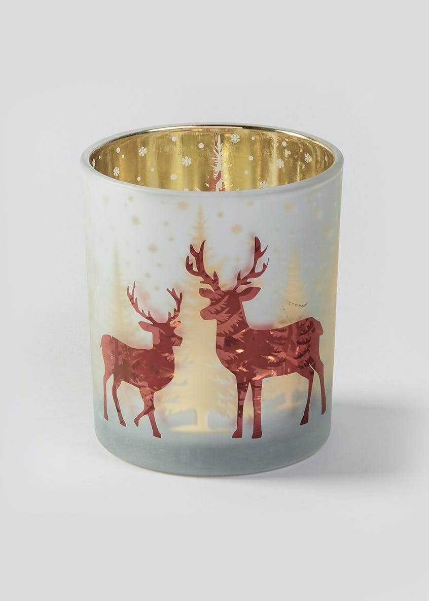 Reindeer Mercury Effect Christmas Tealight Holder