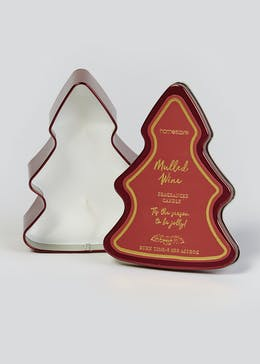 Mulled Wine Christmas Tree Tin Candle (15cm x 12cm x 5cm)