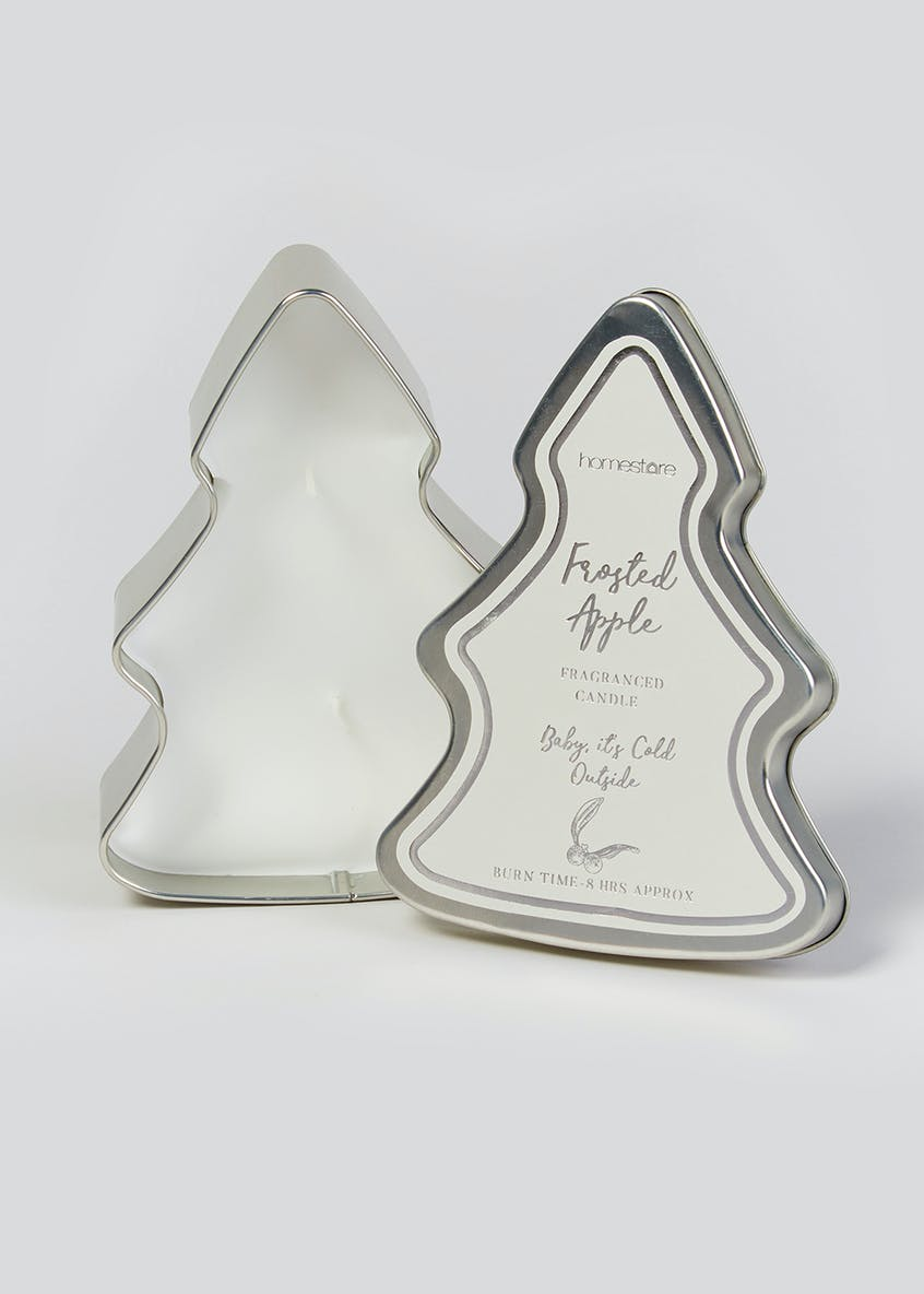 Frosted Apple Christmas Tree Tin Candle (15cm x 12cm x 5cm)