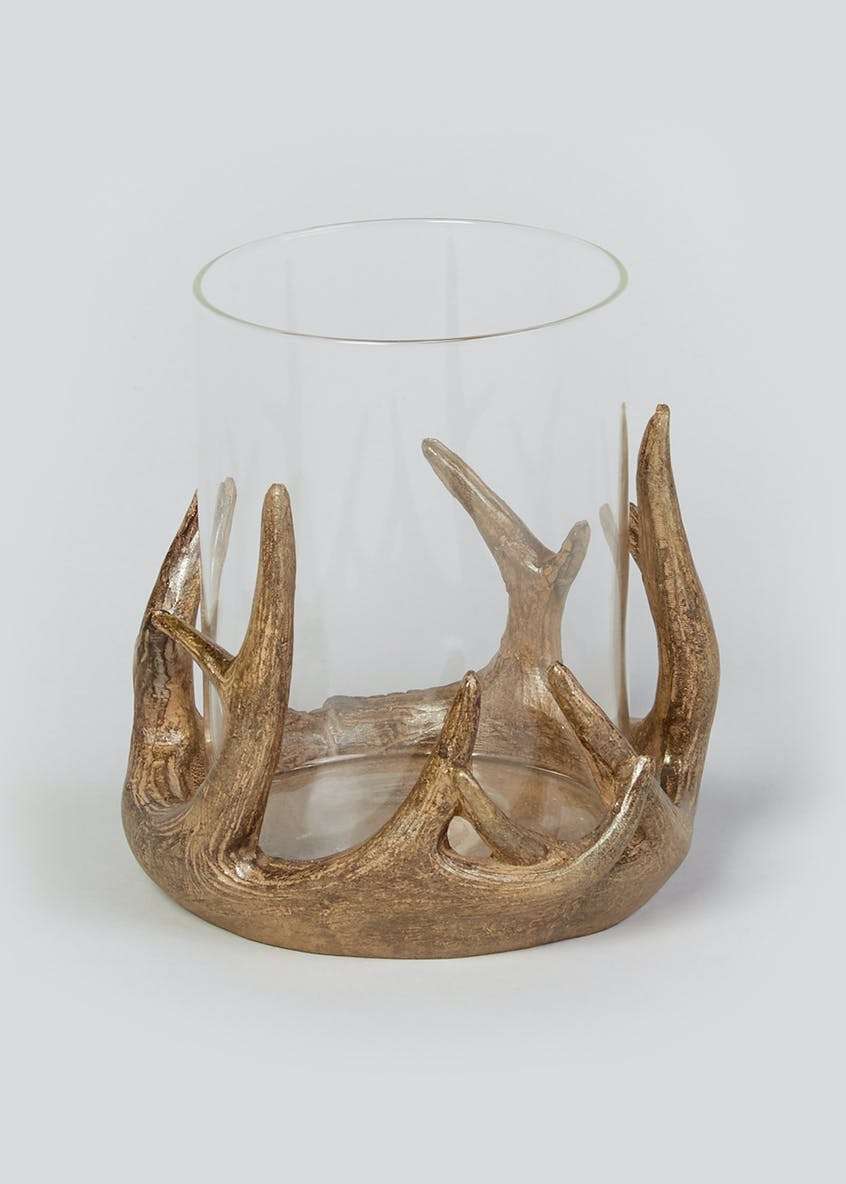 Antler Glass Hurricane Jar (12.5cm x 11cmx 11cm)