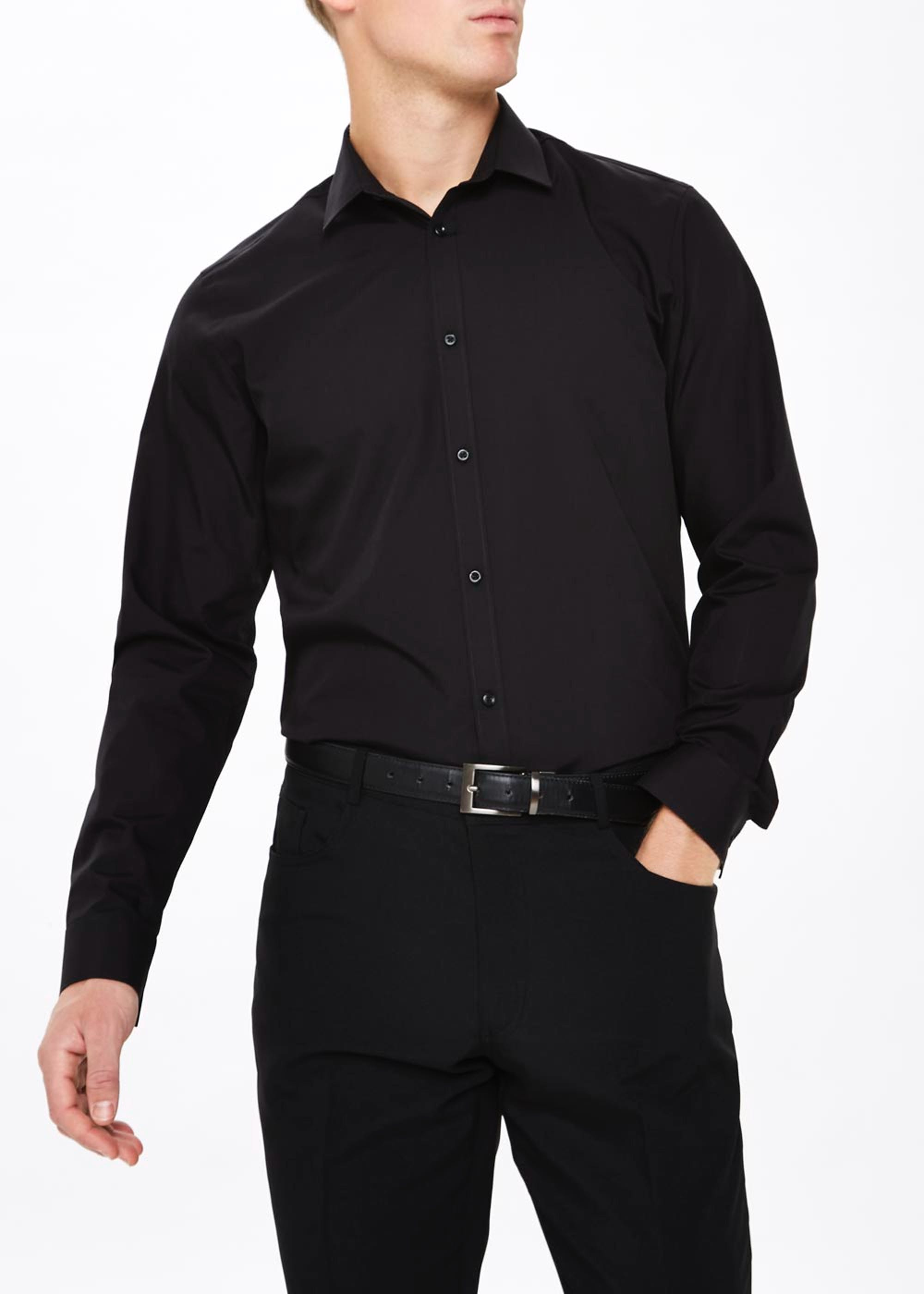 Taylor & Wright Easy Care Regular Fit Long Sleeve Shirt Black 4wG6JK
