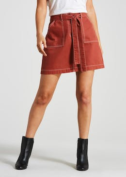 Belted Denim Utility Skirt