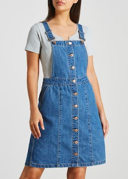 Button Front Denim Pinafore