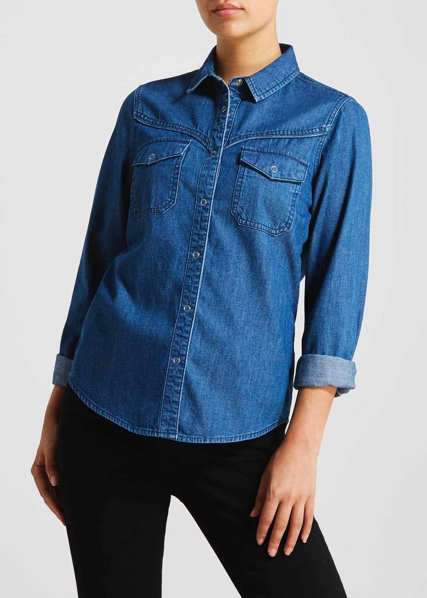 Dark Wash Long Sleeve Denim Shirt