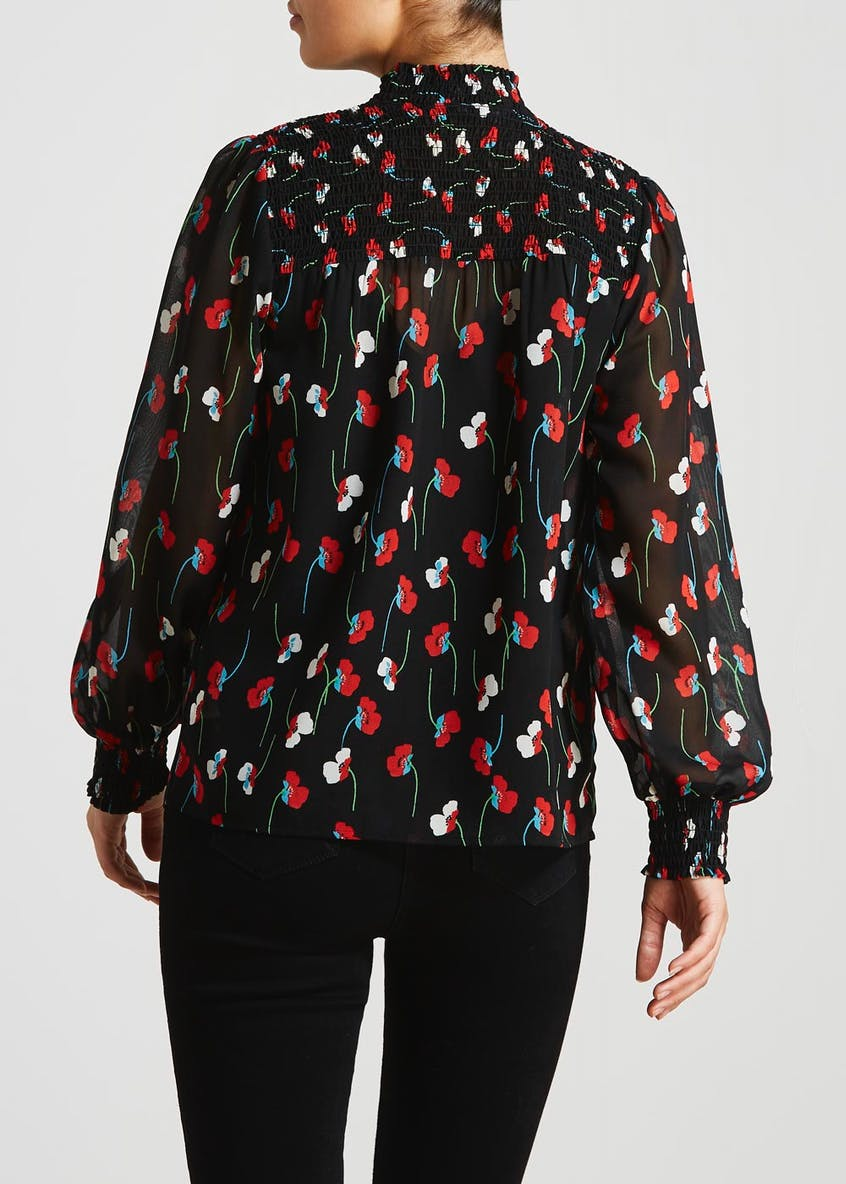 Black Long Sleeve Poppy Print Blouse