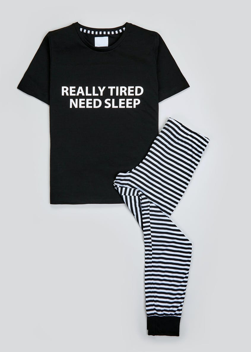 Tired Slogan Family Pyjama Set