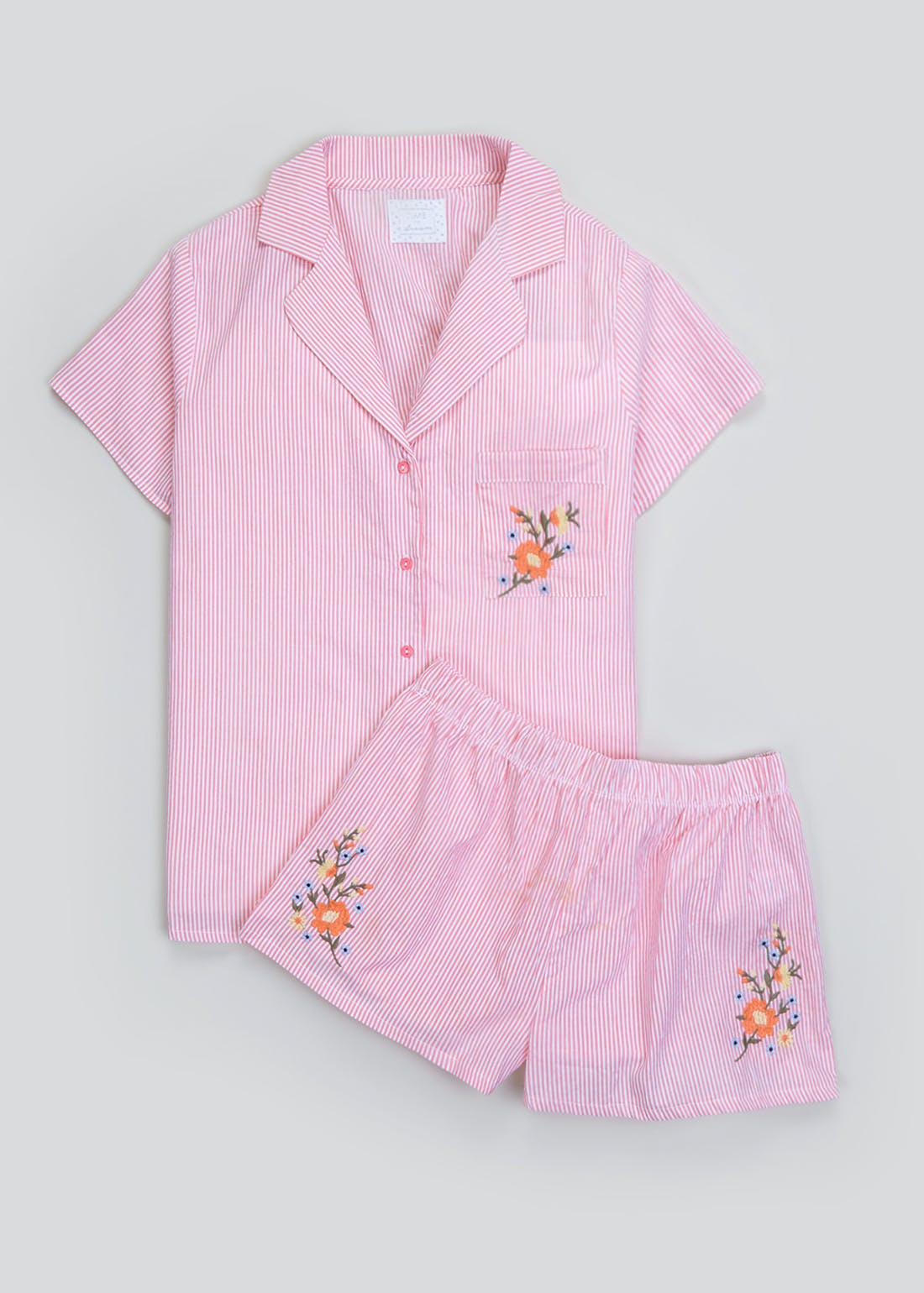 Stripe Floral Embroidered Short Pyjama Set