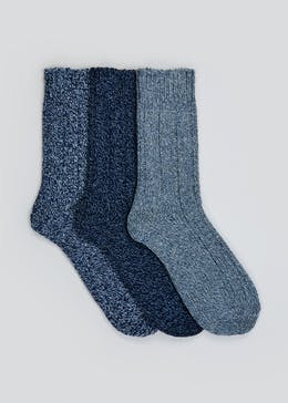 3 Pack Rib Twisted Boot Socks