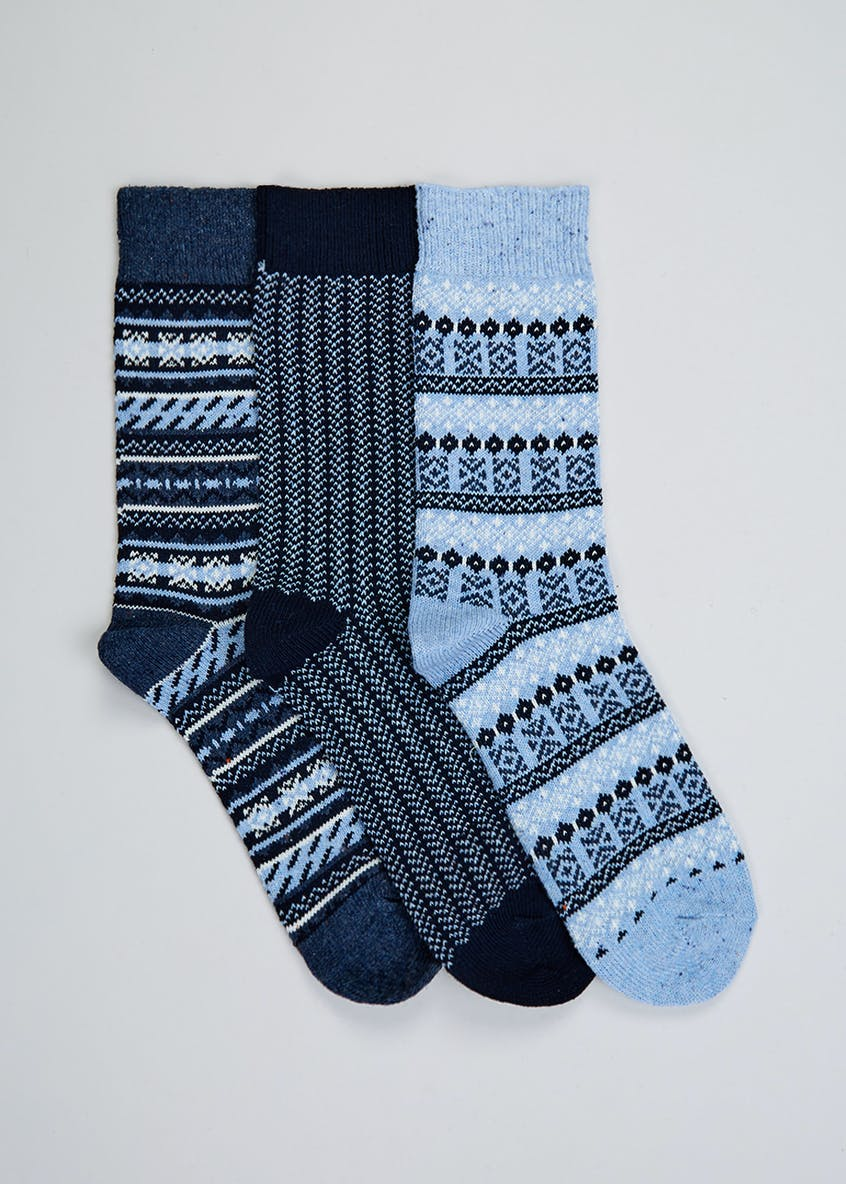 3 Pack Fairisle Boot Socks