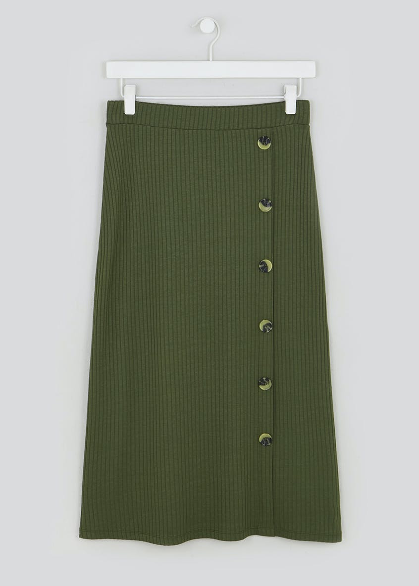 Button Front Jersey Midi Skirt