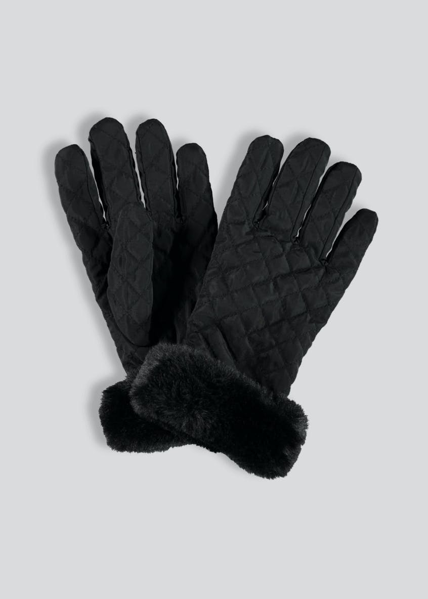Quilted Faux Fur Trim Gloves