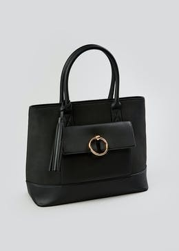 Ring Detail Structured Tote Bag