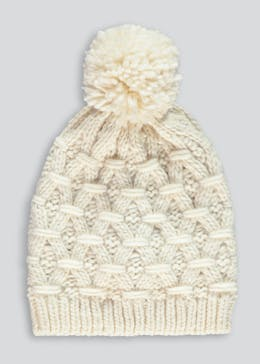 Cream Knitted Bobble Hat