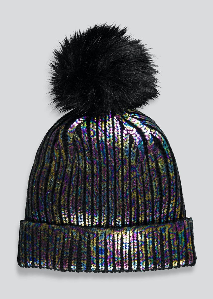 Girls Foil Faux Fur Bobble Hat (7-13yrs)