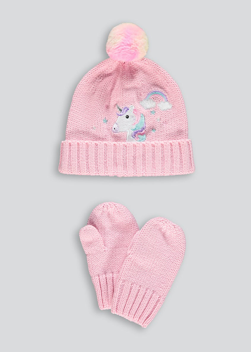 Kids Unicorn Bobble Hat & Mittens Set (3-6yrs)