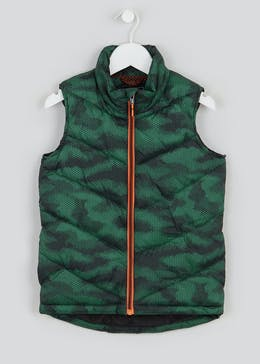 Boys Green Padded Camo Gilet (4-13yrs)
